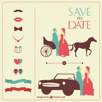 Vintage wedding invitation in red and blue