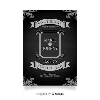 Vintage wedding invitation template on blackboard