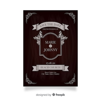 Vintage wedding invitation template on blackboard