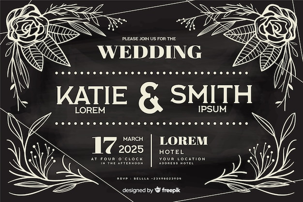 Vintage wedding invitation template on chalkboard