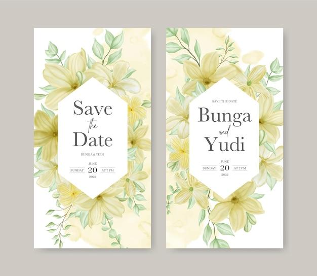 美しい水彩花フレームとヴィンテージの結婚式の招待状のテンプレート