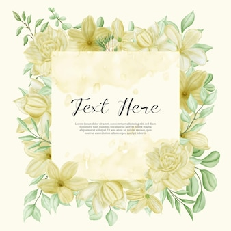 水彩花のフレームとヴィンテージの結婚式の招待状のテンプレート