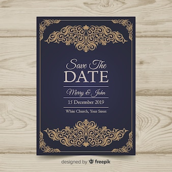 Vintage wedding invitation template