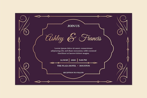 Vintage wedding invitation in violet tones