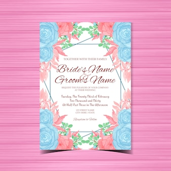 Vintage wedding invitation with beautiful blue and pink flowers