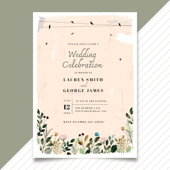 Vintage wedding invitation with bird and floral watercolor
