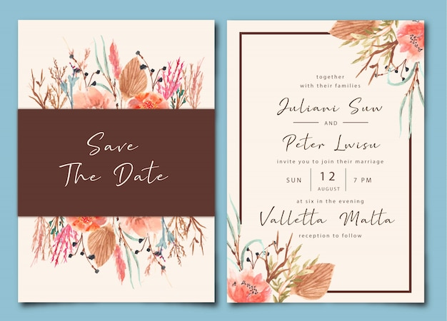 Vintage wedding invitation with dry floral watercolor