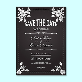 Vintage wedding invitation with floral border