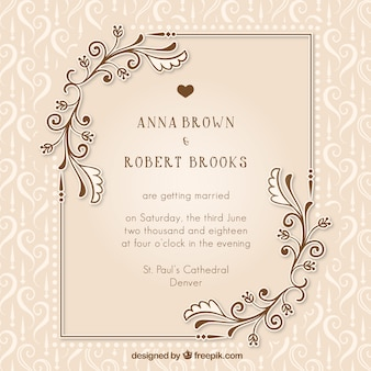 Ceremony vectors photos and psd files free download vintage wedding invitation with floral details stopboris Choice Image