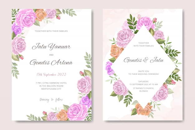 Vintage wedding invitation with floral ornament