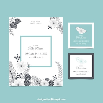 花とヴィンテージ結婚式の招待状