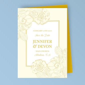 Vintage wedding invitation with golden flowers