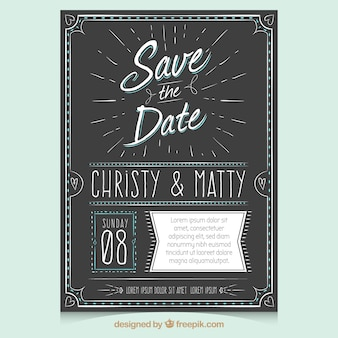 Vintage wedding invitation with hand drawn style