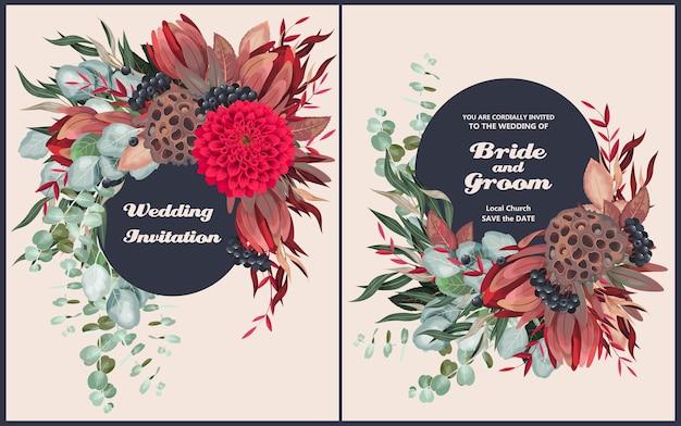 非常に詳細な花と緑のヴィンテージの結婚式の招待状