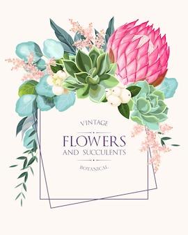 높은 디테일의 꽃과 다육 식물이 있는 빈티지 청첩장