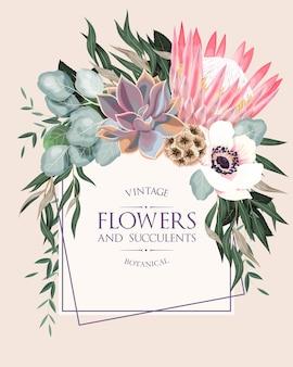 非常に詳細な花と多肉植物のヴィンテージの結婚式の招待状