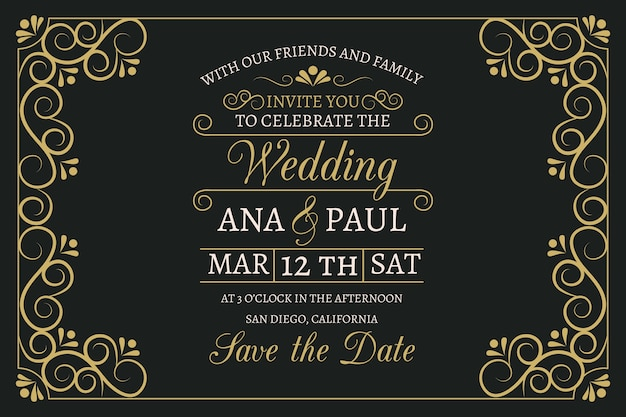 Vintage wedding invitation with lovely lettering template