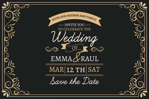 Vintage wedding invitation with lovely lettering