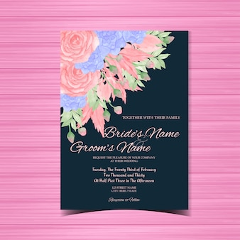 Vintage wedding invitation with pink and blue flowers