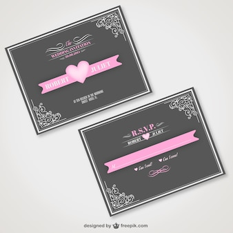 Vintage wedding invitation with pink ribbon