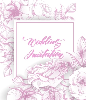 Vintage wedding invitation with roses save the date design  vector template