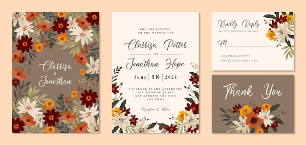 暖かい茶色の花とヴィンテージの結婚式の招待状
