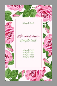 ピンクのバラと長方形フレームのビンテージのウェディング招待状。グリーティングカードの花