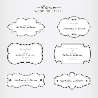 Vintage wedding label set in white color