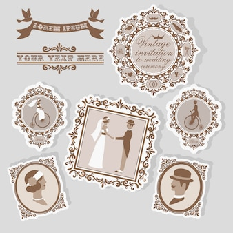 Vintage wedding label set with bridal postcards and retro decor isolates
