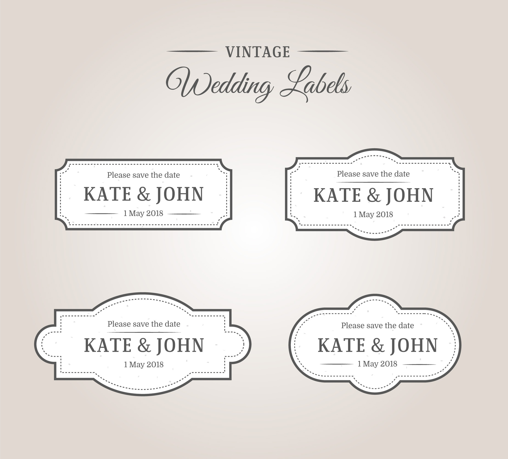 Vintage wedding labels frames