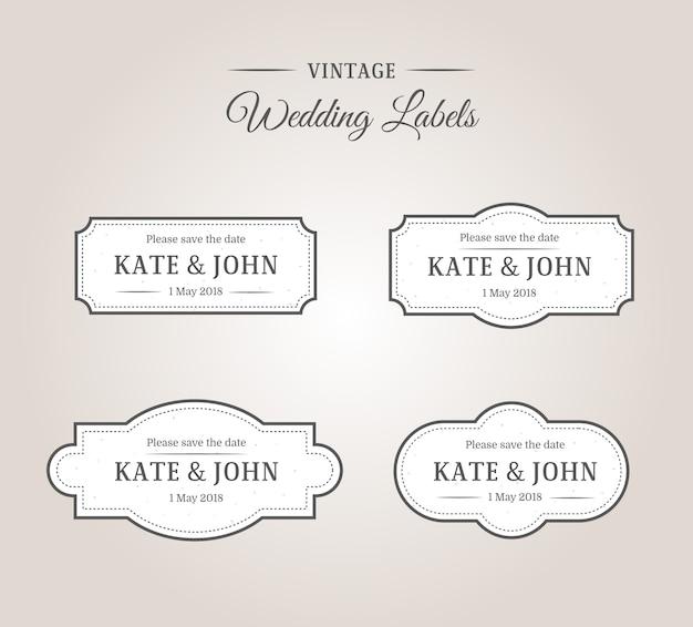 Vintage wedding labels frames