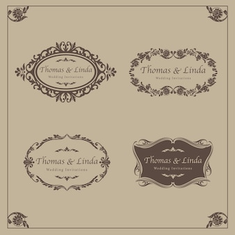 Vintage wedding labels vector