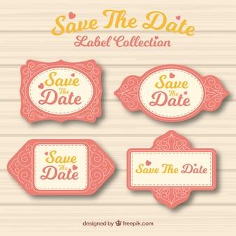 Etichette di nozze d'annata con stile bello