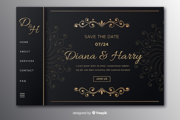 Pagina di destinazione del matrimonio vintage