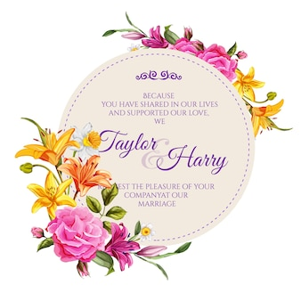 Vintage wedding, marriage invitation card template with elegant flowers. realistic rose, lily flowers with  leaves.