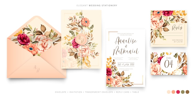 Vintage wedding stationery template