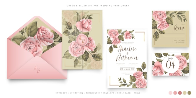 Vintage wedding stationery with pink peonies