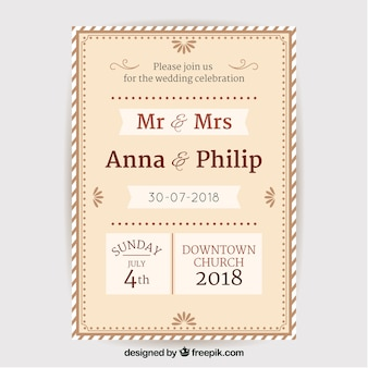 Vintage weding invitation with elegant style
