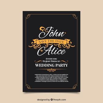 Vintage weding invitation with elegant style