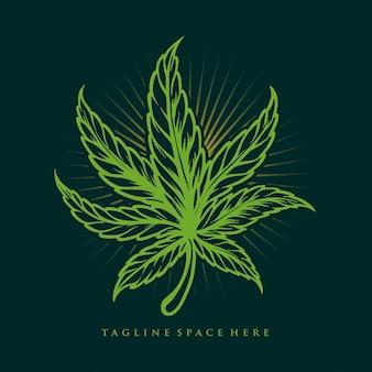 ヴィンテージ雑草の葉マリファナのイラスト