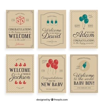 Vintage welcome baby greeting card collection