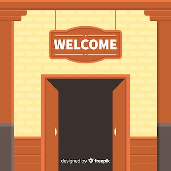 Vintage welcome composition with flat design