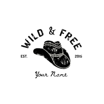 Vintage western cowboy hat logo. vector symbol of the wild west, texas. us label retro typography grunge style. template for print, poster, t-shirt, cover, banner or other business