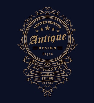 Vintage western design label typography