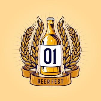 Винтажная бутылка пшеничного пива и лента