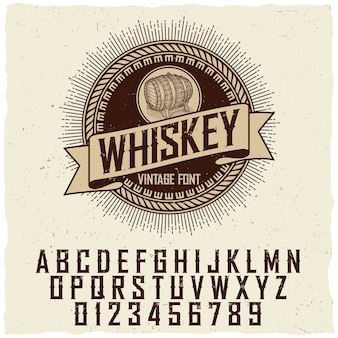 Vintage whiskey label font poster with sample label design