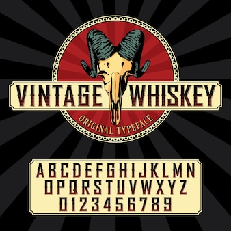 Vintage whiskey label font with sample label design in vintage style