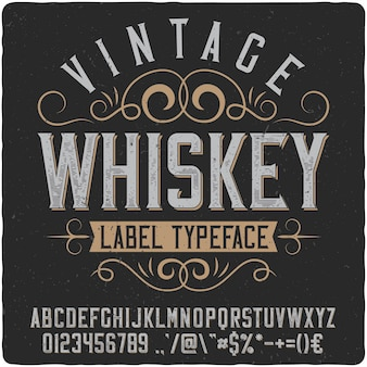 Vintage whiskey label typeface