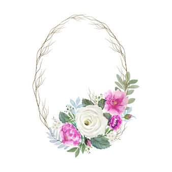 작은 나무 가지 프레임의 둥근 타원 빈티지 흰색과 분홍색 꽃다발 수채화
