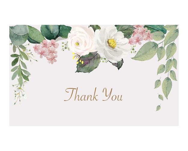 Винтажный бело-розовый цветок с зелеными листьями на прямоугольной мягкой цветной рамке спасибо открытка